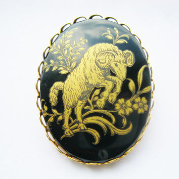 Vintage Black & Gold Aries Brooch Zodiac Jewelry March April Birthday