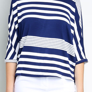 Back Chiffon Paneled Striped Top