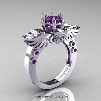 Art Masters Classic Winged Skull 10K White Gold 1.0 Ct Amethyst Solitaire Engagement Ring R613-10KWGAM