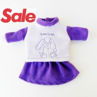 SALE Clothes Bunny Rabbit Purple Skirt easter Handmade For Bitty Baby Girl Doll