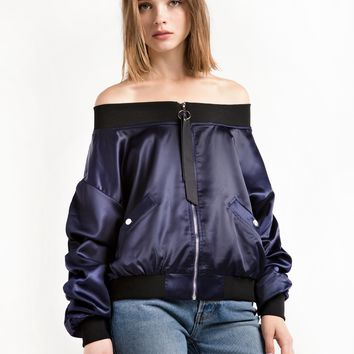 Navy Crop OTS Bomber Jacket - Navy Satin Bomber Jacket -