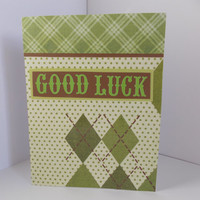 Good Luck! - Brown and Green Argyle - Graduation - College - Moving Away - Inside Blank
