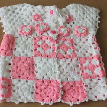 Hand Crocheted Baby Girls Vest / Sweater / Free Shipping / White , White-Pink , White - Green / 0 - 12 Months
