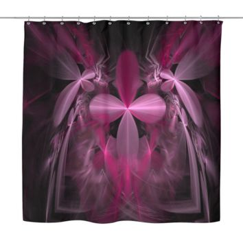 Pink Floral Blooms Shower Curtain