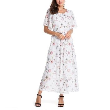 Women Boho Chiffon Dress Summer Floral Print Short Sleeve Loose Maxi Long Dresses Vintage Casual Ruffles Beach Party Dress