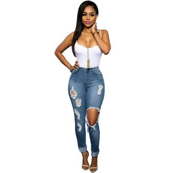 Women's Glistening Ripped Skinny Destroyed Slim Fit Holed Jeans