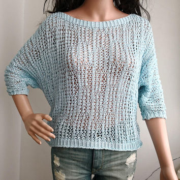 Vintage Crop Top 90s Sheer Blouse Boho Shirt Sky Blue  Knit Bohemian Grunge OPEN weave Summer 1990s Vintage Festival Short Sleeve