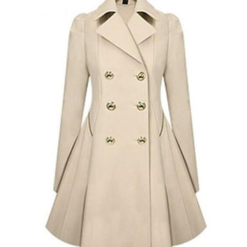 Long Sleeve Notched Collar A-Line Trench Faux Coat