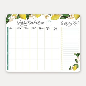 Whimsical Lemon Meal Planner Pad & Grocery List