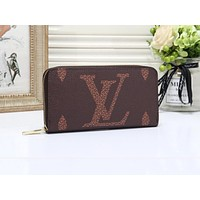 Louis Vuitton LV Women Leather Zipper Wallet Purse Coffee