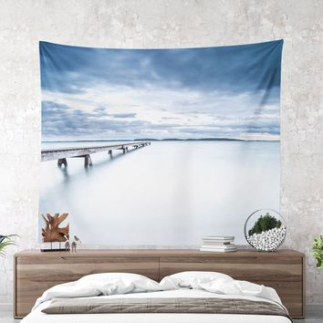 Wall Tapestry With Long Jetty At Sea Print, Artsy Ocean Tapestry, Nautical Tapestry, Marine Tapestry, Original Photo, Wall Art, Coastal