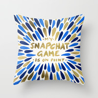 Snapchat – Navy & Gold Throw Pillow by Cat Coquillette | Society6