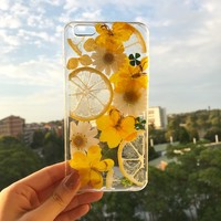 Handmade phone case/ pressed flower phone case/ pressed fruit phone case/ dried flower phone case/ iphone cases/ iphone 6, 6s/ 7, 7s plus