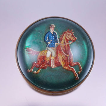 Bridle Rosette Pin Edwardian Era Equestrian Horse Jewelry Domed Glass Brass Early 1900's