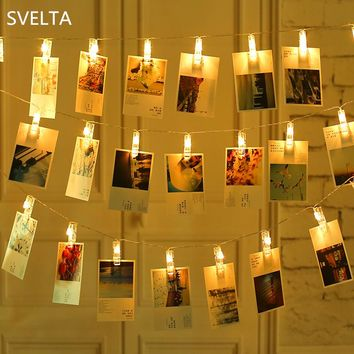 SVELTA Garland Battery Powered Photo Clip String Lights Gerlyanda Decorative LED Christmas Lights For Party Holiday Decoration
