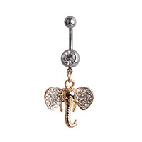 Lureme Pave Crystal Gold Tone Elephant Pendant Silver Belly Button Ring Navel Ring for Women 08000332-1*