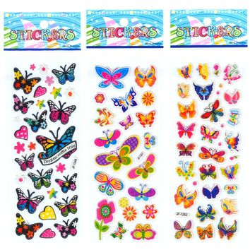 5 Sheets Scrapbooking Cute Kawaii Butterflies Emoji Teacher Reward Kids Children Toys Bubble Puffy Stickers