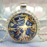 Doctor Who Necklace, Tardis Jewelry,Police box in Vincent van Gogh style sterry sky galaxy pendant Jewelry Necklace (XL23)