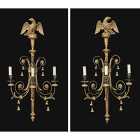 A SET OF FOUR GILTWOOD THREE BRANCH WALL LIGHTS | ONE PAIR GEORGE III CIRCA 1800, THE OTHER BY W.THOMAS, 1970 | wall lights, Furniture & Lighting | Christie's