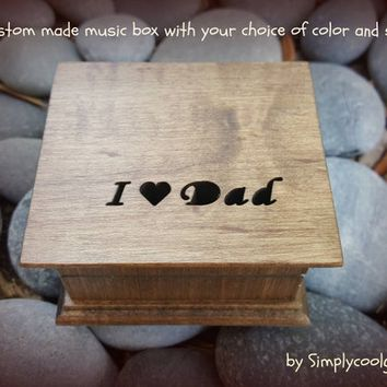 music box, wooden music box, custom music box, dad music box, personalized music box, music box for dad, fathers day, dad gift,