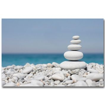 NICOLESHENTING ZEN Stone Meditation Art Silk Poster 13x20 24x36 inch Buddha Picture for Room Wall Decor 004