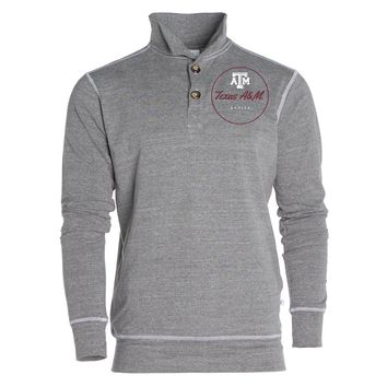 Official NCAA Texas A&M University Aggies A&M Reveille GIG EM Women's Boyfriend Fit Triblend 1/4 Button Pullover Full Sleeve O-Neck Durable Premium Sweatshirt