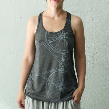 WOMENS FIXIE TANK light gray on charcoal racerback tee