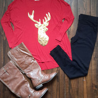 SEQUIN DEER PATCH JERSEY KNIT TOP- CLEARANCE