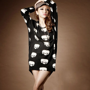 Women New Spring Loose O-neck Skull Printing Batwing-sleeved Blouse Plus Size Fat Girl Fit Bottoming T-shirt = 1945679748