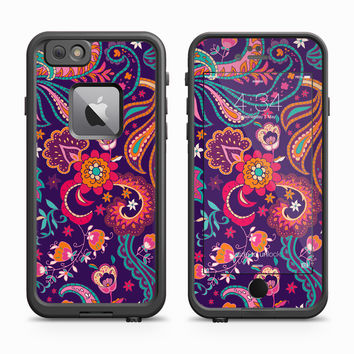 Purple Background Intrepid Floral Design Skin for the Apple iPhone LifeProof Fre Case