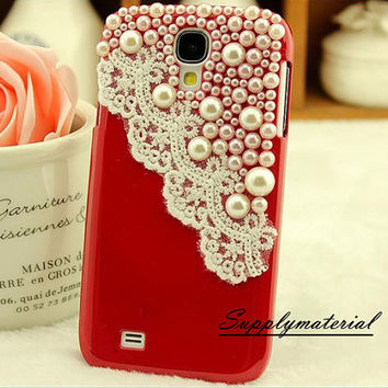 2014 New fashion lace Pearls cell phone case for samsung s4 i9500 case cover