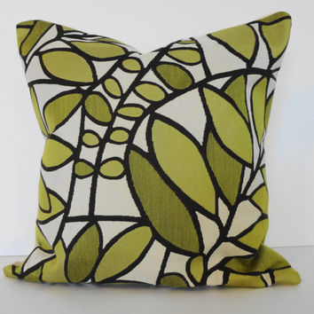 Decorative Pillow Cover Green Leaves 16x16 by pillows4fun on Etsy