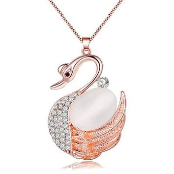 Statement Rhinestone Swan Necklaces Pendant Alloy Opal Long Chain Collar Animal Jewelry For Women New Fashion Accessories