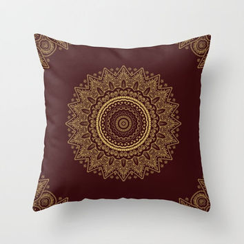 Decorative Throw Pillow - Different sizes to Choose From, Square, Rectangular, Double-sided print, Indoors, Outdoors, Mandala, Red, Boho