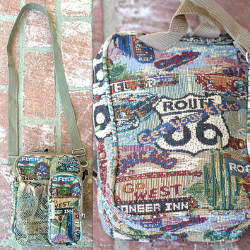 Vintage 90s Southwestern Route 66 Print Tapestry Crossbody Ba