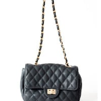 BLACK MINI QUILTED GOLD CHAIN CLASSIC VINTAGE COCO CROSSBODY BAG PURSE at Miss Dandy | Miss Dandy