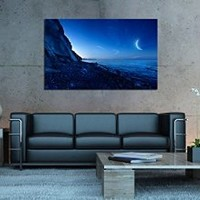 canik154 Box Framed Canvas Print Artwork Stretched Gallery Wrapped Wall Art Painting Hanging Original Decorative Modern Home & Living Decor Mountain landscape moon night ocean Size 26x43""