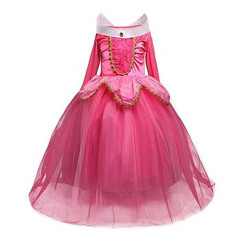Long Sleeves Long Baby Girl Party Dress Floral Girl Princess Dresses Girls Halloween Costume Clothes Children Clothing