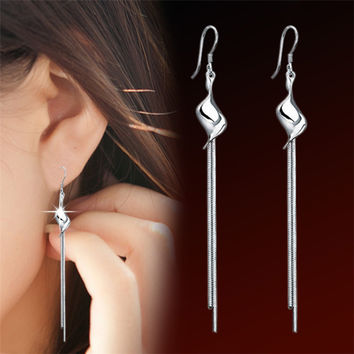 2016 Fashion women 925 sterling silver brinco franja stud earrings charms brincos aretes de plata 925 earings for best friends