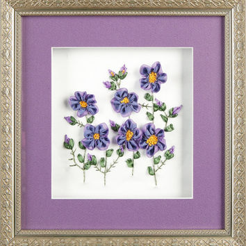Silk Ribbon Embroidery Framed Violets...
