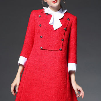 Red Tie Collar Button Patch Dress