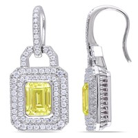 Silver Plated 12ct TGW Yellow Emerald Cut & Rd Cubic Zirconia Fashion Earrings