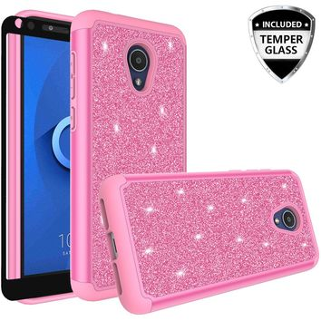 Alcatel 1x Evolve Case, 1x Evolve Glitter Bling Heavy Duty Shock Proof Hybrid Case with [HD Screen Protector] Dual Layer Protective Phone Case Cover for Alcatel 1x Evolve W/Temper Glass - Hot Pink