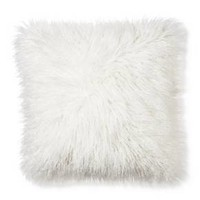 "Cream Mongolian Faux Fur Throw Pillow (18""x18"") - Xhilaration™"