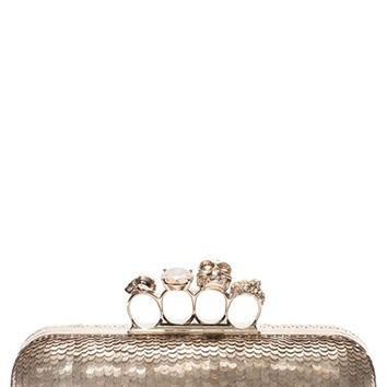 Alexander McQueen Knuckle Clasp Leather Box Clutch | Nordstrom