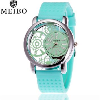 MEIBO Brand Fashion Silicone Rubber Watch Casual Women Dress Quartz Watches Relogio Feminino Clock Hot Selling 2087