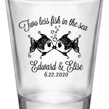 2 less fish in the sea wedding shot glasses, personalized wedding favors