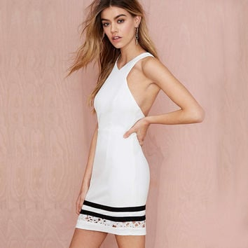 White Halter Criss Cross Back Dress with Lace and Lining
