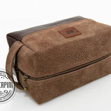 Limit Edition, Dopp kit, Stingray embossed, Handle Dopp, Branding Initials, Cosmetic bag for men, leather men's, shaving bag groomsmen