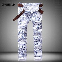 3D spray Printed Jeans Men Fashion White Denim vaqueros hombre Brand Skinny Elastic pencil jeans Pantalones Casual Men Clothing